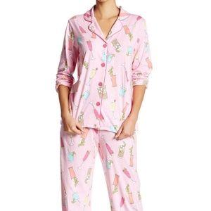 PJ Salvage Drinks Pajama Set Pink Pajama Set, new